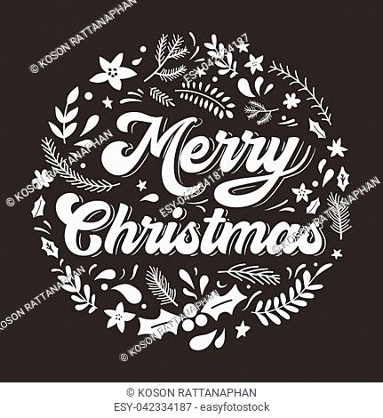 Christmas and New year greeting or invitation card. Merry Christmas hand drawn lettering on black background.Vector illustration