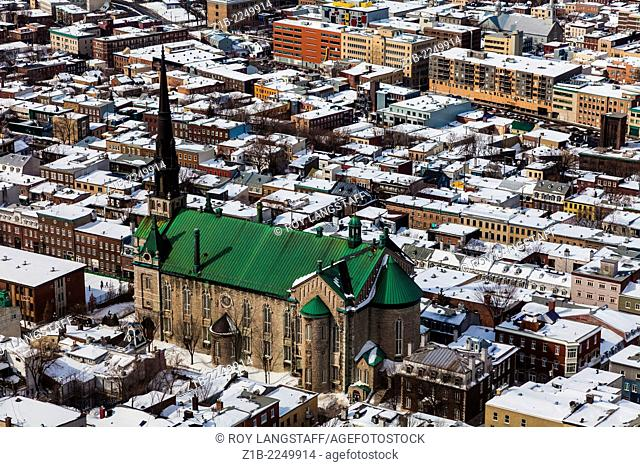 An overview of Quebec City, with the Church of John the Babtist