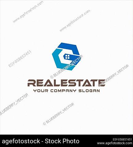 Hexagon Letter G C Real Estate Logo Design. Initial G C Home Logo