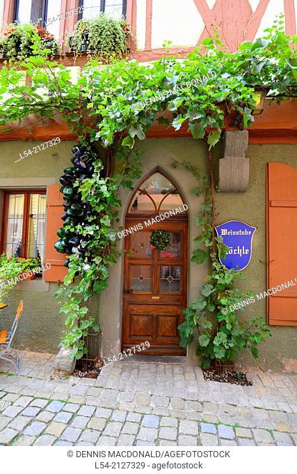 Entrance door with Ivy Rothenburg Germany DE Franconia Bavaria