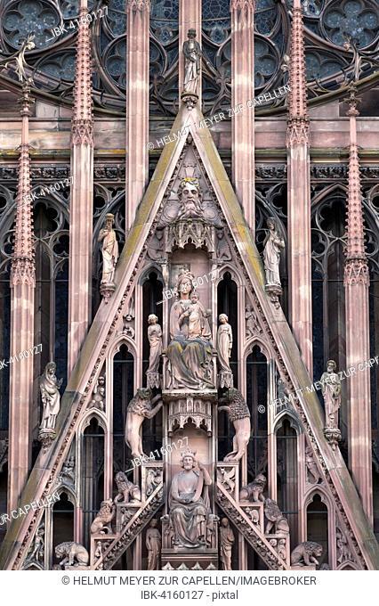 Detail above the entrance portal of the Strasbourg Cathedral, Strasbourg, Alsace, France