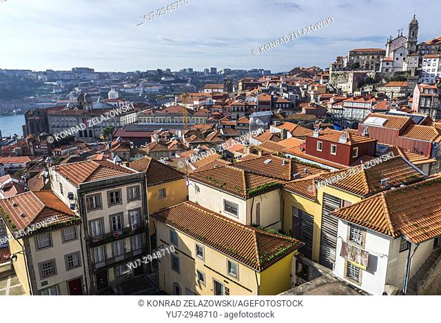Aerial view in Porto city on Iberian Peninsula, second largest city in Portugal. Bolsa Palace on left side