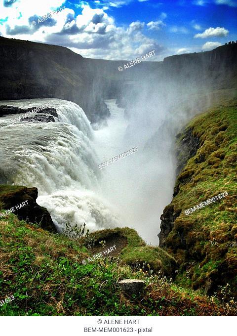 Mist rising from Gulfoss waterfall, Reykjavik, Hofuoborgarsvaeoi, Iceland