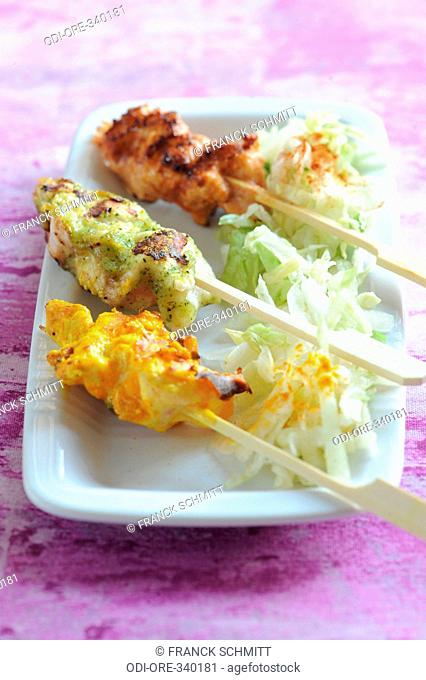 Marinated chicken kebabs