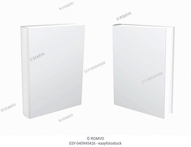 Standing closed white paper book on transparent background. Empty cover template. Education literature symbol. Author writer show product
