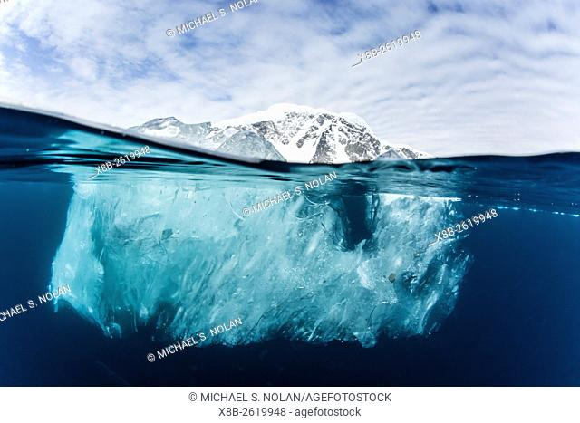 Above and below water view of Danco Island, Errera Channel, Antarctica