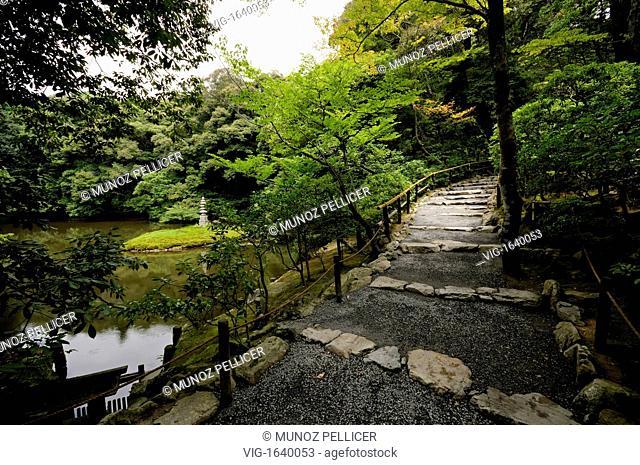 JAPAN, KYOTO, 17.07.2008, Kaiyu-shiki (japanese strolling garden). Kinkaku-ji complex (which means -Golden Pavilion Temple-) is the popular name of Rokuon-ji...