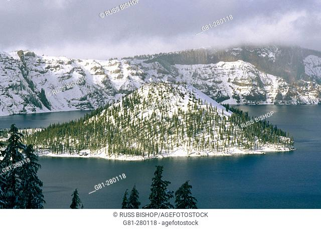 Wizard Island in winter. Crater Lake National Park. Oregon. USA