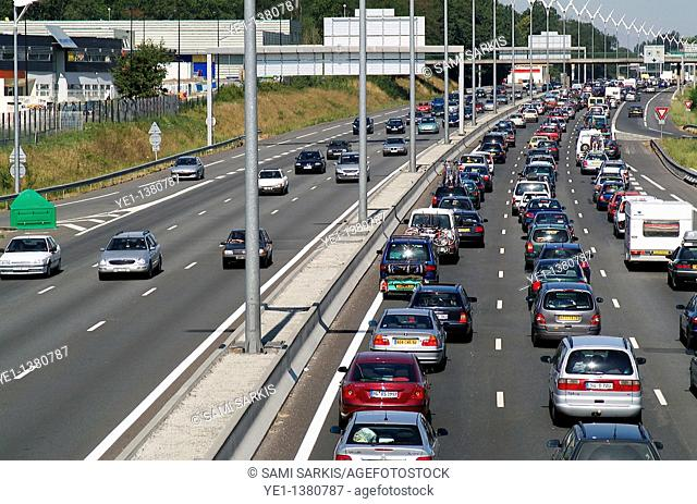 Heavy traffic jam on A69 Highway during an August public holiday, Talence, Bordeaux, France