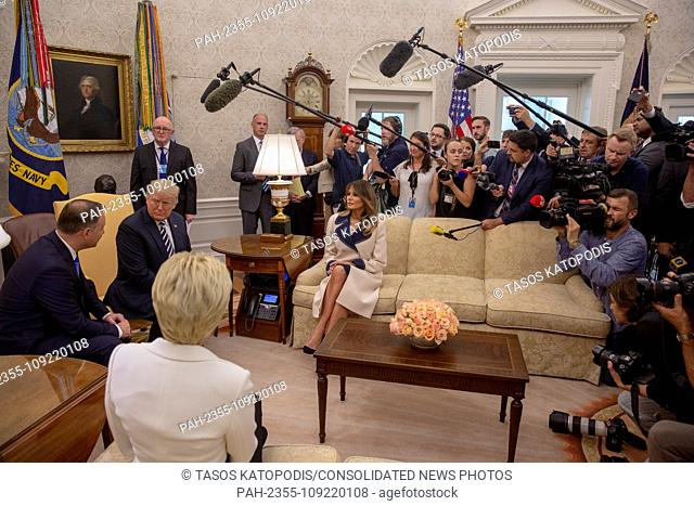President of Poland Andrzej Duda and United States President Donald J. Trump meet inside the Oval Office at the White House in Washington, DC on September 18