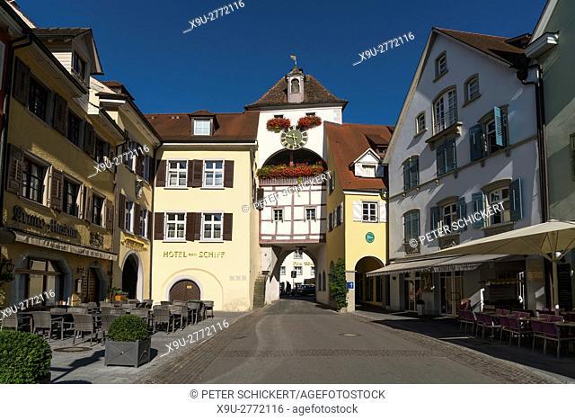 medieval town-gate Unterstadttor in Meersburg at Lake Constance, Baden-Württemberg, Germany,