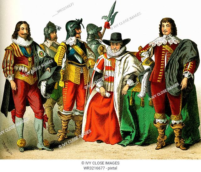 The figures represented here are all English people from the 1600s. They are, from left to right: Charles I, three soldiers, chancellor, a nobleman