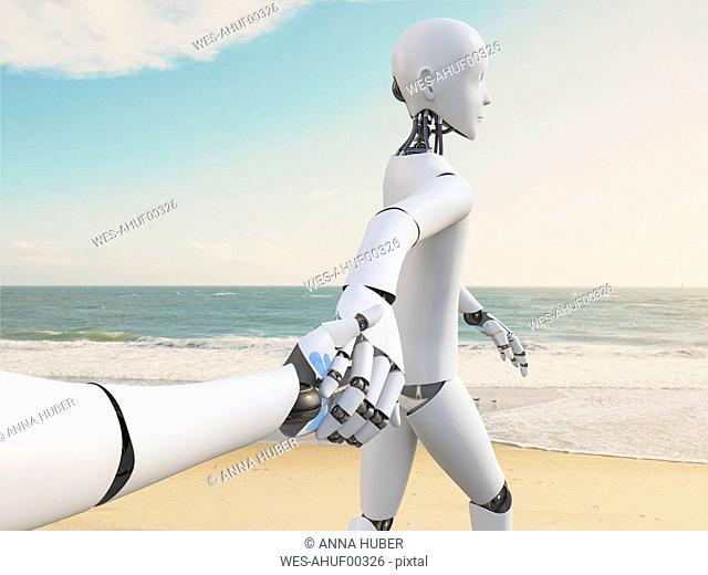 Robot walking hand in hand on the beach, 3d rendering