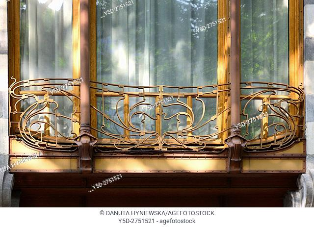 Architectural detail - Art Nouveau Solvay Hotel by Victor Horta 1898-1900 for Armand Solvay, together with three other town houses of Victor Horta