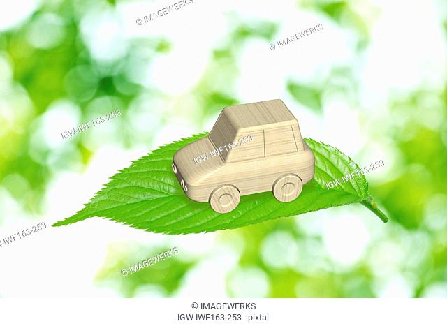 Wooden toy car on top of leaf