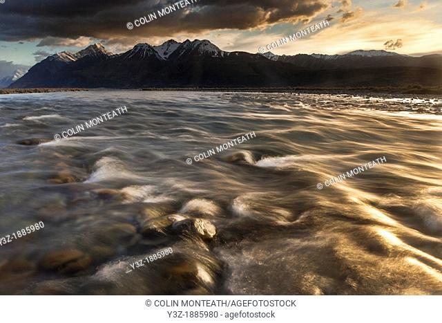 Tasman Valley river flats at dawn, outflow from tasman glacier, Aoraki Mount Cook National Park