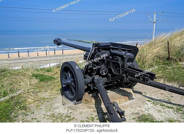 German World War II Pak 40 75 mm anti-tank gun at Raversyde Atlantikwall / Atlantic Wall open-air museum at Raversijde, West Flanders, Belgium