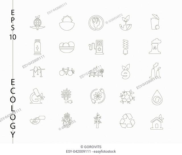 Green, Ecology and environment icon set in vector format. 25 icons in thin line sets