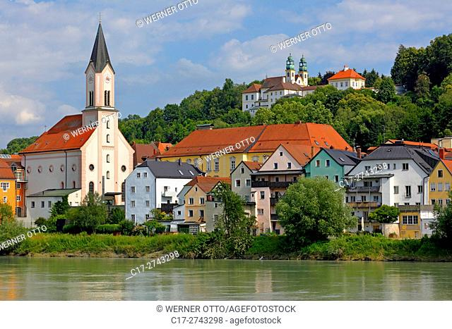 Germany, Bavaria, Eastern Bavaria, Lower Bavaria, D-Passau, Danube, Inn, Ilz, D-Passau-Innstadt, Saint Gertrude Church at the Inn riverwalk