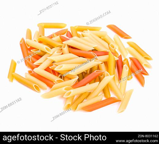 Pasta Penne colorata isolated on white background