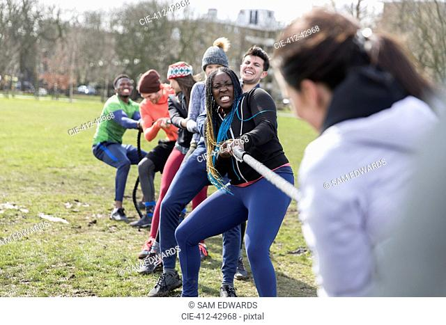 Determined team pulling rope in tug-of-war in park