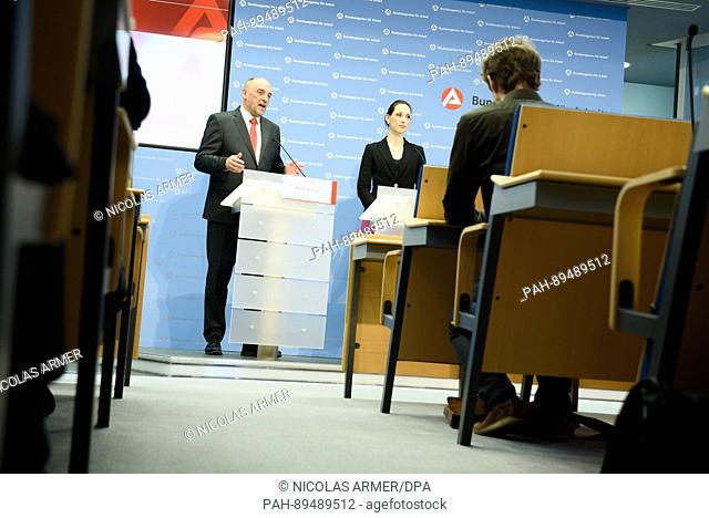 L-R: Detlef Scheele, the head of the German Employment Agency (Bundesagentur fuer Arbeit), and Valerie Holsboer, a member of the board of directors
