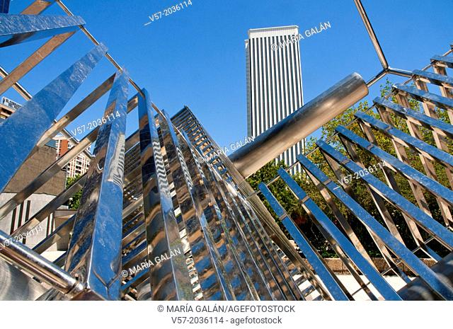 Picasso Tower and modern sculpture. AZCA, Madrid, Spain