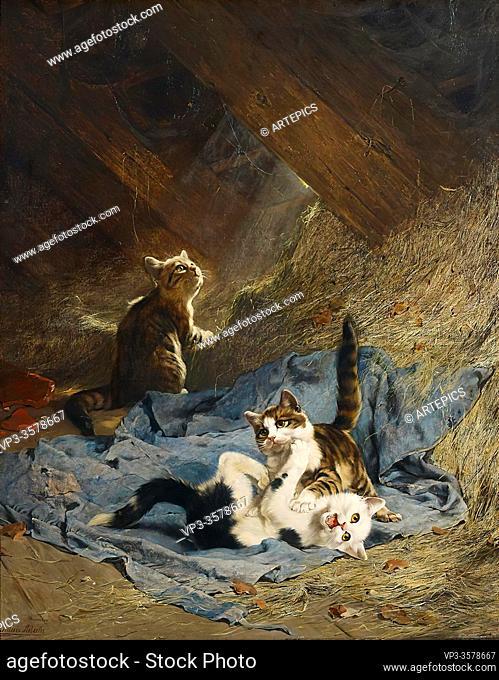 Adam II Julius - Kittens Playing in the Hay - German School - 19th Century