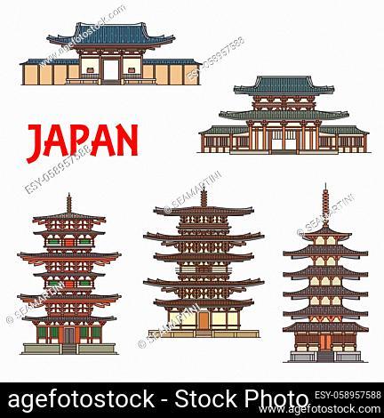 Japanese temples, shrines and pagodas in Ikaruga Nara, Japan, vector Buddhist architecture landmarks. Horyu-ji, Toto and Eastern pagodas