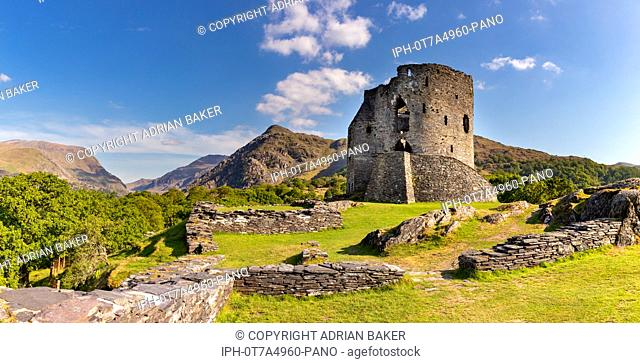 Llanberis Gwnedd Wales May13, 2019 13th Century Picturesque ruins of Dolbadarn Castle, and the mounains of Snowdonia