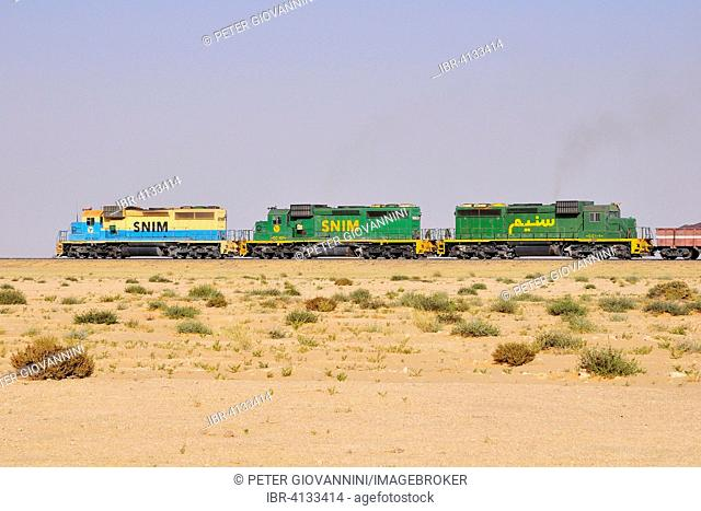 Railway through the desert for the transport of iron ore from M'Haoudat to Nouadhibou port, Dakhlet Nouadhibou region, Mauritania