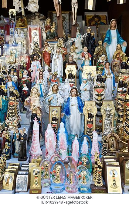 Madonna figures, souvenir stall, Santuario della Casa, Loreto, Marche, Italy, Europe