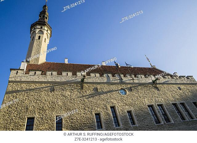 Side view of Tallinn Town Hall (Tallinna raekoda), Tallinn Town Hall Square (Raekoja Plats). Old Town, Tallinn, Estonia, Baltic States
