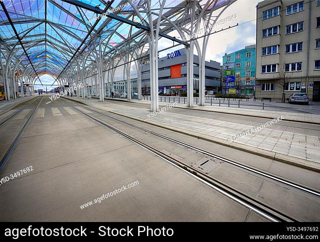 Europe, Poland, Lodz, March 2020, empty streets of city center during the coronavirus pandemic, Tram interchange center - Centrum