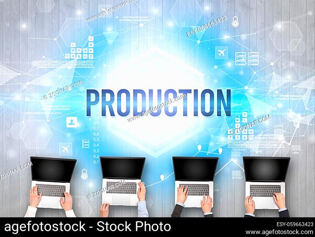 Group of Busy People Working in an Office with PRODUCTION inscription, modern technology concept