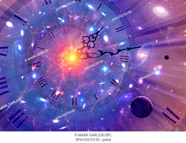 Time dilation. Conceptual artwork of time dilation in Einstein's relativity. According to special relativity, moving clocks runs slower than stationary ones