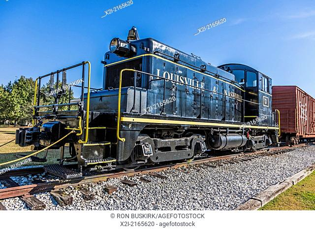 Louisville & Nashville (L&N) train locomotive outside the Foley Railroad Museum in Foley, Alabama