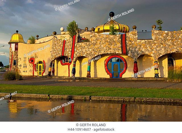 Staad, Hundertwasser, Switzerland, canton St. Gallen, Lake of Constance region, covered market, architecture, artist, Hundertwasser, clouds, reflection