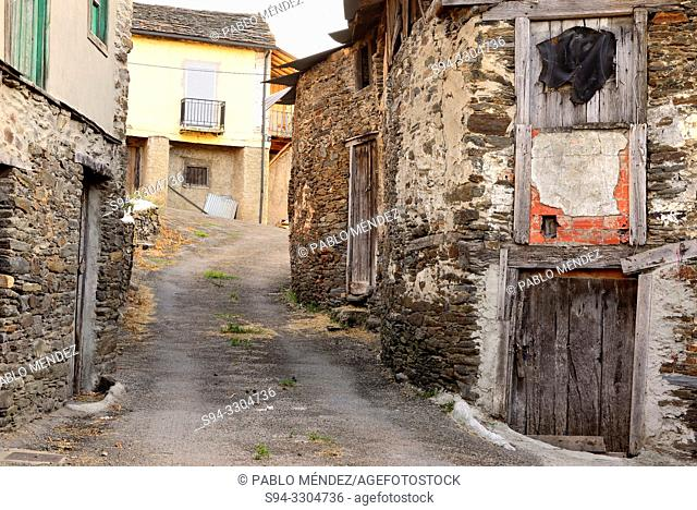 Alley between old houses in Valencia do Sil, Orense, Spain