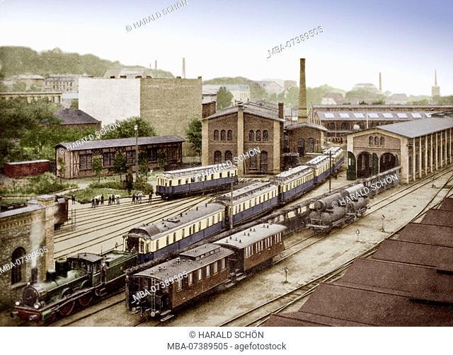Germany, German Reich, Prussia, Potsdam, Locomotive, Train, Waggons, Railways, Buildings