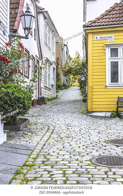 lane in the old town of Bergen with wooden houses, Norway