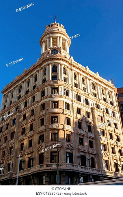 Building at Gran Vía street in City of Madrid, Spain