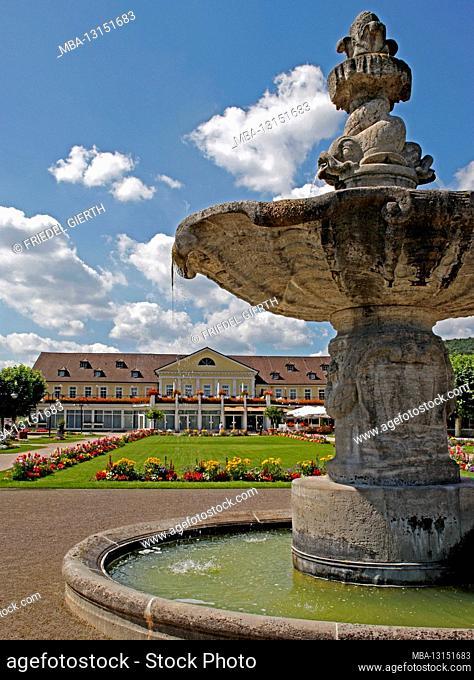 Kurpark, fountain, Kurhaus, Bad Dürkheim, Rhineland-Palatinate, Germany