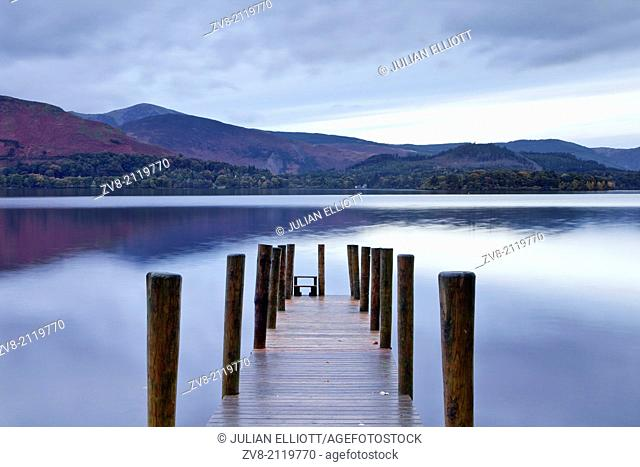 The still waters of Derwent Water in the Lake District national park, Cumbria, UK