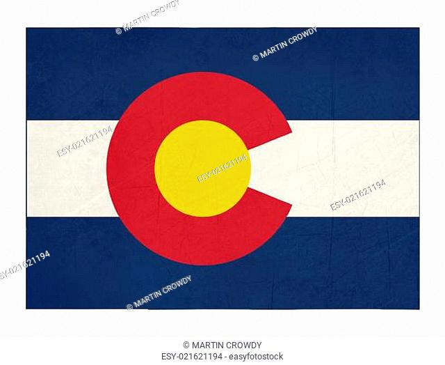 Grunge state of Colorado flag map