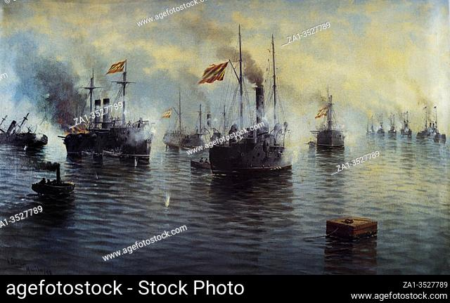 """Battle of Cavite of Spanishâ. """"American War, 1898. Painted by Ildefonso Saenz, 1899. Museo Naval, Madrid"""
