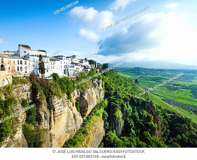 Houses on the edge of the Tagus in Ronda, Málaga, Andalusia, Spain, Europe