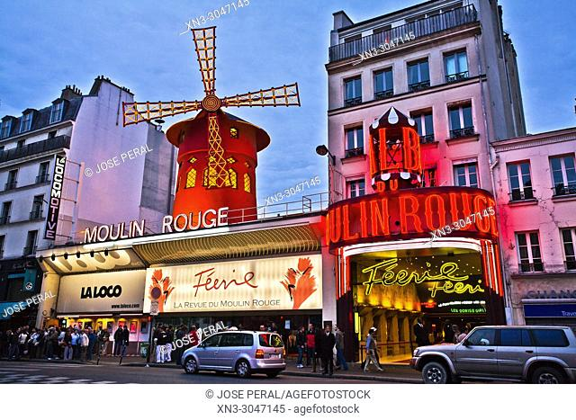 Moulin Rouge cabaret, Boulevard de Clichy in the 18th arrondissement, Paris, France, Europe