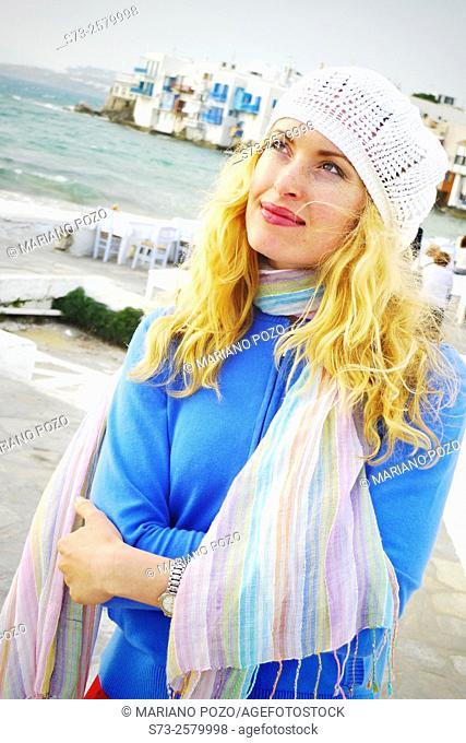 30 years old woman in Little Venice, Mykonos, Cyclades Islands, Greece