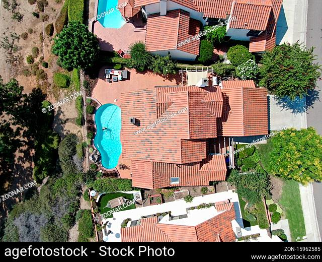 Aerial top view of middle class residential house in Rancho Bernardo, South California, USA. August 22nd, 2020